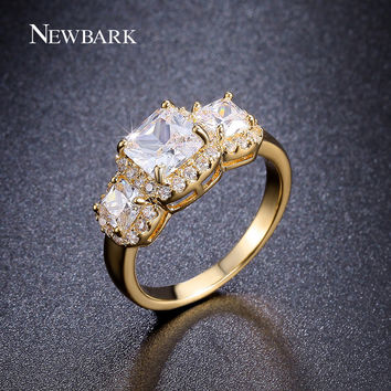 NEWBARK Latest Fashion 18K Gold Plated 1ct Princess Cut Three AAA CZ Diamond Women Jewelry Ring for Engagement Wedding