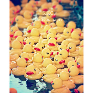 Carnival Photography. Rubber ducky. nursery decor. children's room art. fair. carnival games. yellow art. cute. wall decor. bathroom decor.