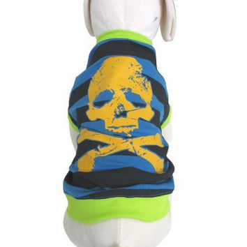 UP Collection Bright and Stripped Skull Print T-Shirt for Pets, Medium