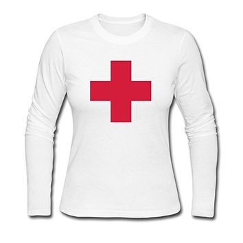 Women's Red Cross Long Sleeve T Shirt White
