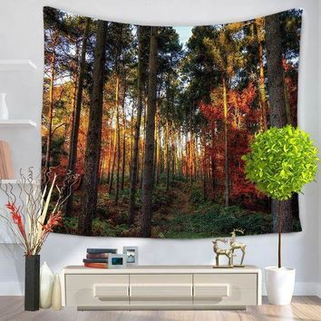 Home Decorative Wall Hanging Carpet Tapestry 130x150cm Rectangle Bedspread Forest Scenic Sun Tress Pattern Gt1036