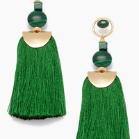 Gemstone Tassel Earrings - Green