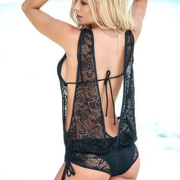Black Lace Swimwear Cover Up Romper-Beach Cover Ups