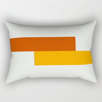 Yellow Meets Crimson Rectangular Pillow by spaceandlines