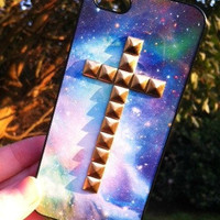 Blue Sky Space Galaxy Print Gold Cross Studded iPhone 4 4S Phone Case