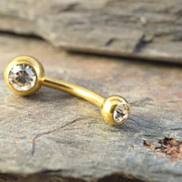 Simple Gold Belly Button Ring Jewelry
