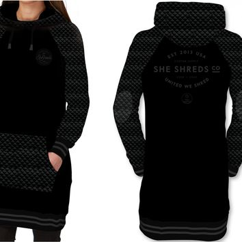 Quilted Tech Hoodie - Tall Fit - Black & Charcoal