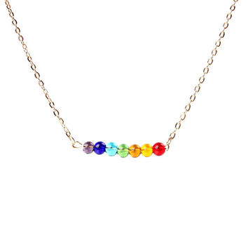 Rainbow gay pride gold dainty minimal layering bridesmaid colorful necklace pendant gift for her him under 15 under 20 gemstone birthstone