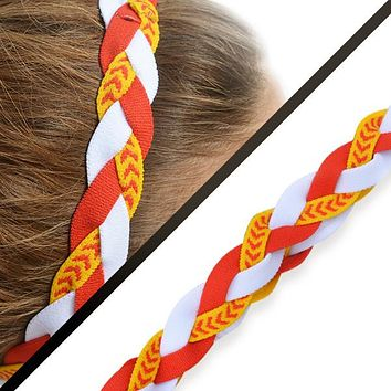 Softball Stitch Headband- Red