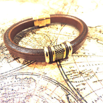 Cognac Leather Bracelet with Shiny Gold Beads and Clasp-Genuine European Leather - For Men or Women