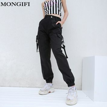 MONGIFI Pockets Loose High Waist Pants Women Button Pantalones Cargo Pants Capris Track Harajuku Pencil Pants Women's Trousers