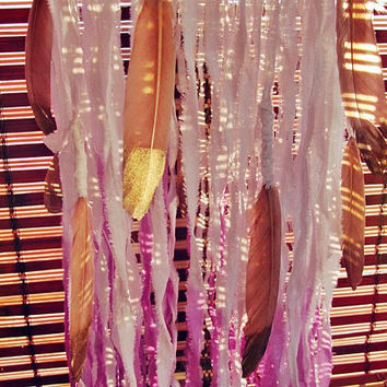 Dip Dye Modern Dreamcatcher Mobile with Feathers - Boho Bedroom - Gypsy Nursery - Crib Mobile - Bohemian Decor - Newborn Gift - In Stock