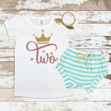 Gold and Rose Gold Two With Crown Shirt   Glitter Gold Two with Crown Shirt with Mint Striped Shorts for Girls   Baby Girls  Outfit