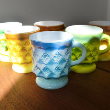 6 Vintage Fire King Kimberly mugs - blue, green and yellow - Anchor Hocking 1970s