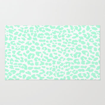 Pale Mint Leopard Area & Throw Rug by M Studio