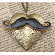 Steampunk Mustache Locket Necklace Vintage Style by sallydesign