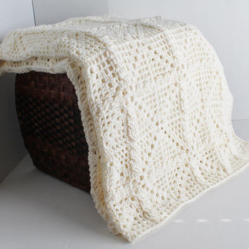 Cable Crochet Afghan -Ivory Cable Blanket - Full Size Off White Cable Afghan