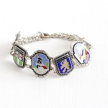 Vintage Silver Tone The Netherlands Holland Panel Bracelet - 1940s Souvenir Colorful Enamel Den Haag Rotterdam Windmill Costume Jewelry