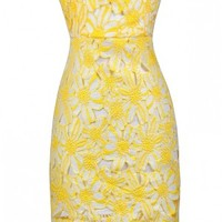 Happily Ever After Strapless Crochet Lace Dress in Yellow
