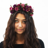 Purple N Lavender Holiday Rose Crown - Frida Kahlo Flower Crown, Purple Rose Headband, Holiday Fashion Accessory, Gift Idea, Rose Headpiece