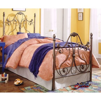 Twin size Majestic Metal Bed Frame with Headboard and Footboard