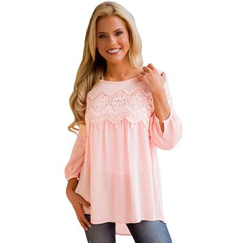 Pink Crochet Detail Long Sleeve Babydoll Top