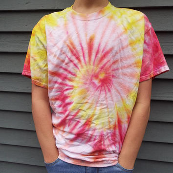 Tie Dye Swirl Shirt, Adult Large TieDye Shirt in Hot Colors - Red Yellow and Orange, Mens Tie Dye T-shirt, Hippie Clothing, Retro, Boho Tee