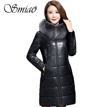Smiao 2017 Winter Women Cotton Parkas Hooded Fur Collar Thick Warm PU Leather Jacket Overcoat Long Coat Female Outerwear 5XL