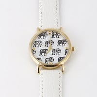 Elephant Lined Printed Strap Watch - 3 colors