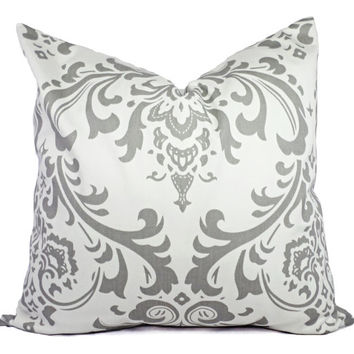 Two 18 x 18 Inch Damask Decorative Throw Pillow Covers - Grey and White Pillow Covers - Grey Throw Pillow - Cushion Cover Accent Pillow
