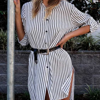 Black and White Long Sleeve Striped Button Down Shirt Dress