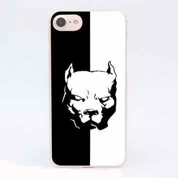 Cute and Lovely Dog Pitbull Hard Transparent Case for iPhone