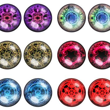 6 Pairs of Mystic Magic Circle Astrological Unisex Mens Womens Stainless Steel Stud Earrings