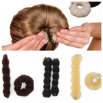 2Pcs/Set Women Ladies Magic Style Hair Styling Tools Buns Braiders Curling Headwear Hair Rope Hair Band Accessories