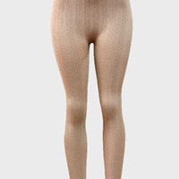 High Waisted Cable knitted Thermal Leggings Natural