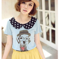 Polka Dot Collar Puppy Shirt