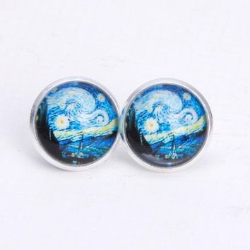 Van Gogh Painting Stud Earrings The Starry Night Glass Dome Post Fashion Jewelry