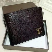 Louis Vuitton Men Leather Purse Wallet