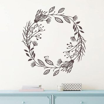 Boho Wreath Primitive Farm Leaf style Vinyl Wall Decal
