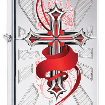 Zippo High Polish Cross with Wings Windproof Lighter