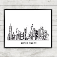 Nashville Art Print, Nashville Skyline, Nashville Tennessee, Zentangle