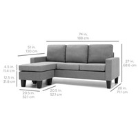 Best Choice Products Multifunctional Linen 3-Seat L-Shape Sectional Sofa Couch w/ Reversible Chaise Ottoman - Gray - Walmart.com