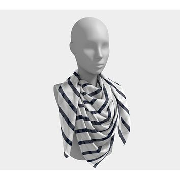Striped Square Scarf - Navy on White