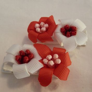RIBBON SCULPTURES - EASTER - RED / WHITE LILIES