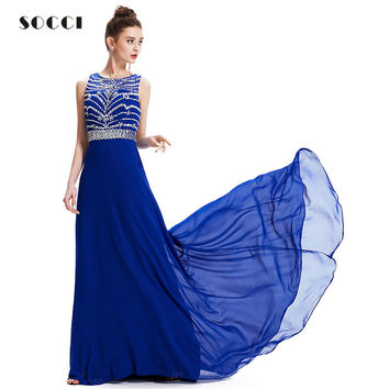 SOCCI Royal Blue Chiffon Long Evening Dress New O-neck Cross Back Formal Wedding Party Gowns Robe de Soiree Longue Prom Dresses