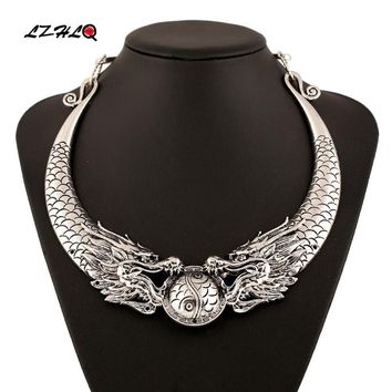 LZHLQ Bohemian Ethnic Necklace Statement Women 2019 Hot Gypsy Vintage Double Dragons Choker Collar Tribe Jewelry Collier