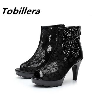 Tobillera Summer Open Tole High Heels Platform Ankle Boots In Sexy Black Breathable Mesh Side Fashion Flower Decor Office Shoes
