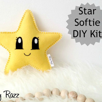 Yellow Star Softie DIY KIT, Star Sewing Kit, Make your own star softie