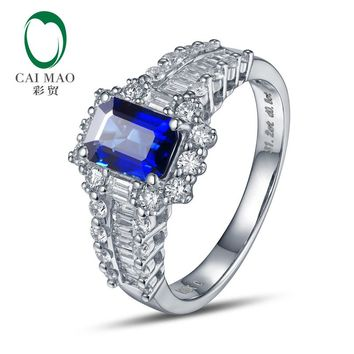18K/Au750 White Gold Natural 1.21ct Sapphire & 0.78ct Diamonds Engagement Ring