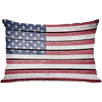 """Wood American Flag"" Indoor Throw Pillow by OneBellaCasa, 14""x20"""
